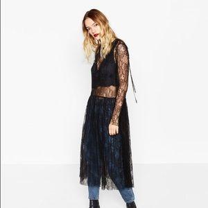 Zara Black Crop Top Sheer Lace Midi Dress
